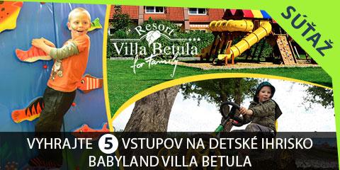 Súťaž o 5 celodenných vstupov na detské ihrisko BABYLAND VILLA BETULA