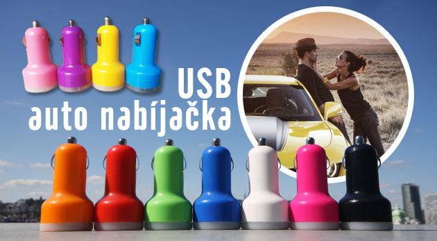 """Fotka zľavy: Pohotovostná USB auto nabíjačka len za 3,90€. Dobite si svojich elektronických """"pomocníkov"""" počas cesty autom. 2 USB výstupy, 7 farebných variácií."""