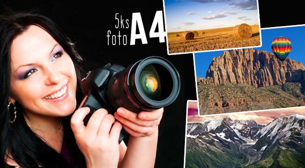 Fotka zľavy: Zvečnite svoje milované momentky teraz so zľavou 63%! Vyvolanie 5 fotografií vo formáte A4 alebo A3 na lesklom a kvalitnom fotopapieri 220g už od 5,99€. Doručenie zadarmo!