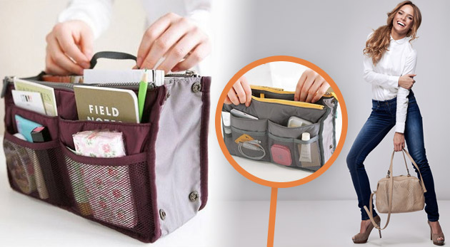 Fotka zľavy: Praktický organizér do kabelky v peknom farebnom prevedení len za 5,99€. Získajte prehľad a poriadok vo svojej kabelke a meňte kabelky tak často ako len chcete bez pracného prekladania celého obsahu!