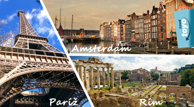 Fotka zľavy: Vyberte si jednu z troch destinácií: Paríž, Rím či Amsterdam. 4-dňový zájazd pre 1 osobu len za skvelých 129€. Splňte si svoj sen alebo potešte svojich blízkych nádherným darčekom.