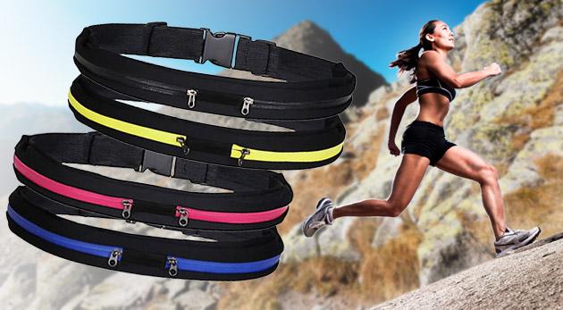 Fotka zľavy: Praktický športový pás za 6,50€ vrátane poštovného. Nastaviteľný elastický pás, dva úložné priestory uzatvárateľné zipsom na mobil, kľúče, peňaženku, doklady alebo iné drobnosti.