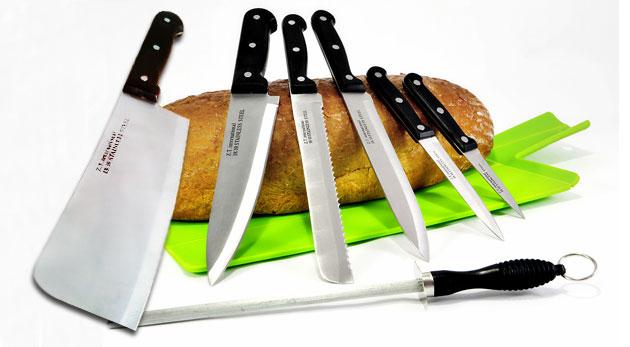 Fotka zľavy: Sedemdielna sada prvotriednych nožov na rôzne druhy krájania vrátane sekáčika a ocieľky na brúsenie zo zdravotne nezávadnej a odolnej chirurgickej ocele len za 11,90€.