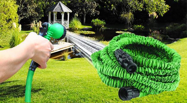Fotka zľavy: Praktická elastická hadica v troch rôznych dĺžkach od 15 do 30 m so siedmimi typmi trysiek už od 11,90€. Aby bola práca v záhrade ešte väčšou vášňou!
