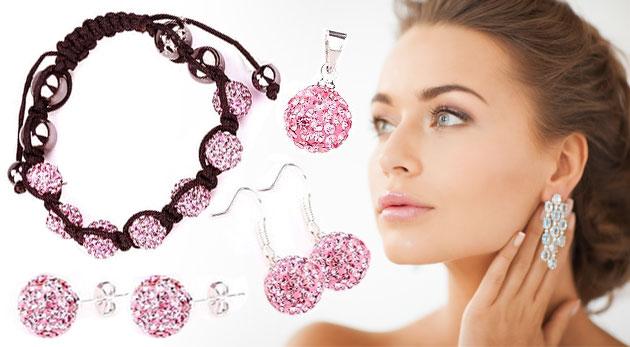 Fotka zľavy: Nežný 7-dielny set šperkov s kamienkami len za 9,99€. Dva páry náušničiek, náramok a retiazka s príveskom v šiestich trblietavých farbách.