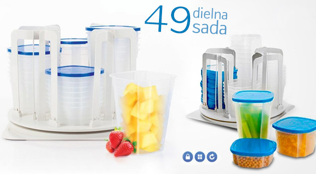 Fotka zľavy: Praktický otočný organizér s kuchynskými nádobami za 11,99€. Uložte svoje vypestované ovocie či zeleninu na neskoršiu konzumáciu do praktických, hermeticky uzatvorených nádob.