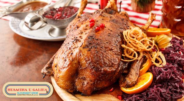 Fotka zľavy: Skvelé husacie a kačacie hody v hlavnej husacej sezóne v známej reštaurácii u Galika v Slovenskom Grobe len za 70€. Zabezpečte si najlepšiu firemnú akciu alebo rodinnú oslavu.