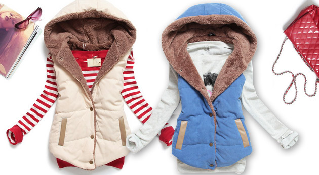 Fotka zľavy: Oblečte sa podľa poslednej módy - dámska vesta s teplou podšívkou a kapucňou len za 12,90€. Doplňte svoj šatník o najnovší hit sezóny!
