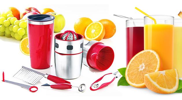 Fotka zľavy: Fantastický odšťavovač a 4-dielna sada pre dekoráciu ovocia a zeleniny len za 11,99€. Pre radostné chvíle v kuchyni!