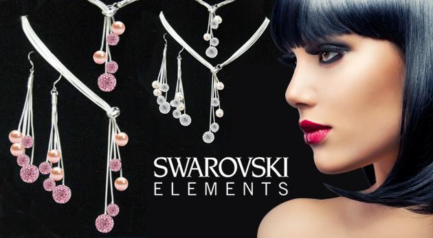 Fotka zľavy: Nádherný set - visiace náušnice, náhrdelník a náramok s ozdobnými kamienkami len za 18,99€. Zahviezdite v zlatom, bielom či ružovom skvoste!