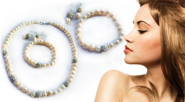 Fotka zľavy: Šperky z pravých perál len za 37,99€ v bielej farbe. Náhrdelník, náramok a náušnice - jedinečná ozdoba pre každú dámu v darčekovom balení!