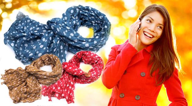 Fotka zľavy: Trendový dámsky šálik s krčeným efektom s milými bodkami len za 4,40€! Šesť veselých farieb pre váš ultra moderný look!