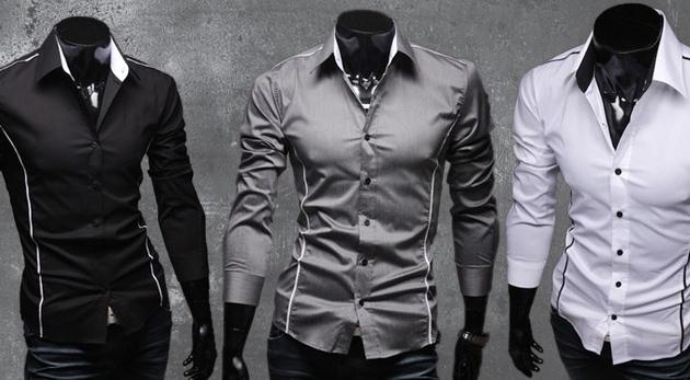 Fotka zľavy: Aj páni môžu zdôrazniť svoju sexi postavu! Skvelým prostriedkom je pánska slim-fit košeľa s dlhým rukávom len za 12,90€. Pritiahnite pozornosť ženského oka aj vy!