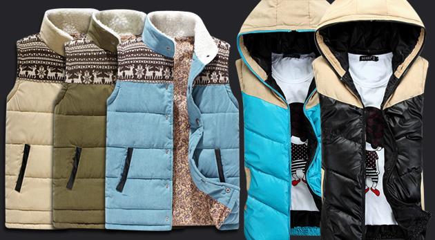 Fotka zľavy: Trendy kúsok pre pánov - štýlová vesta s teplou podšívkou a kapucňou. Vyberte si z dvoch druhov a rôznych farieb už od 16,90€. Nahoďte sa podľa najnovšej módy!