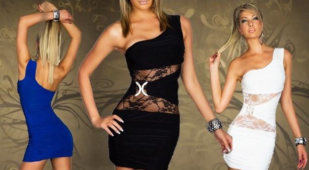 Fotka zľavy: Dámske čipkované šaty len za 12,99€ pre všetky dámy, ktoré chcú byť zvodné stále! Sexi čipka cez bruško, odhalené rameno, zvodný strih a tri kráľovské farby!