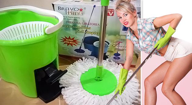 Fotka zľavy: Magic Mop 360º - pomocník na upratovanie, ktorý šetrí vaše sily svojou kvalitnou prácou. S 2 textilnými hlavicami s mikrovláknom ho dostanete len za 15,98 €!
