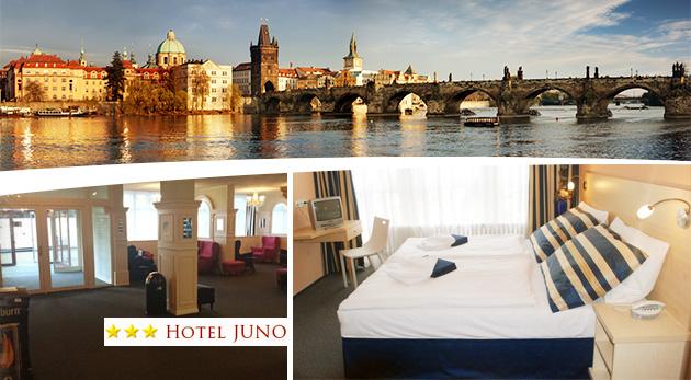Fotka zľavy: Ubytujte sa v Hoteli Juno v Prahe a majte všetky nádhery tohto mesta do 12 minút pri nohách! Len 36,50€ zaplatíte za 2 dni vo dvojici s raňajkami alebo si pobyt môžete aj predĺžiť!