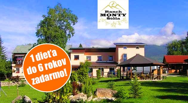 Fotka zľavy: Príďte si oddýchnuť do Vysokých Tatier - 5 dní v rodinnom Penzióne Monty Ranch len za 69 € spolu s polpenziou, jazdou na koni alebo zapožičaním bicykla. 1 dieťa do 6 rokov ubytovanie aj strava zdarma!