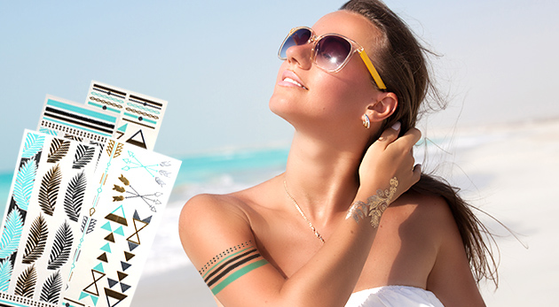 Fotka zľavy: Hit leta vás nesmie obísť! Metalické tetovačky na telo len za 4,99 € z vás urobia kráľovnú letných dní i nocí. V balení 4 karty s rôznymi vzormi.