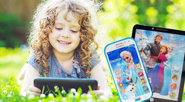Fotka zľavy: Zabavte na dlhej ceste na dovolenku svoje deťúrence detským smartfónom alebo tabletom s motívom Frozen už od 5,90 €. Obsahuje pesničky aj rozprávky v angličitine, ktorú sa tak naučia hravou formou.