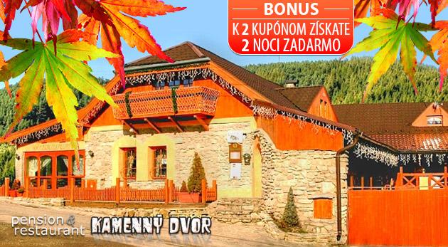 Fotka zľavy: Jesenný kúpeľný relax vo Vyšných Ružbachoch - 3 alebo 4 dni v Penzióne Kamenný dvor už od 68 € s polpenziou či raňajkami a vstupom do termálneho jazierka. BONUS - 2 noci zdarma pri kúpe 2 kupónov!
