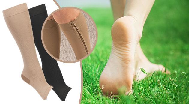 Fotka zľavy: Predíďte bolestiam nôh a nepríjemným opuchom vďaka kompresným pančuchám Zip Sox len za 8,99 €, ktoré sa skvele prispôsobia tvaru vášho chodidla. Na výber z dvoch farieb a veľkostí.