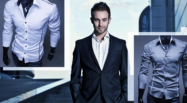 Fotka zľavy: Držte krok s módnymi trendmi so slim-fit košeľou už od 11,99 €. Na výber z dvoch druhov v rôznych farbách.