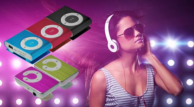 Fotka zľavy: Mini MP3 prehrávač len za 4,99 € v 7-mich veselých farbách. Vypočujte si svoje obľúbené songy a spríjemnite si každý deň.