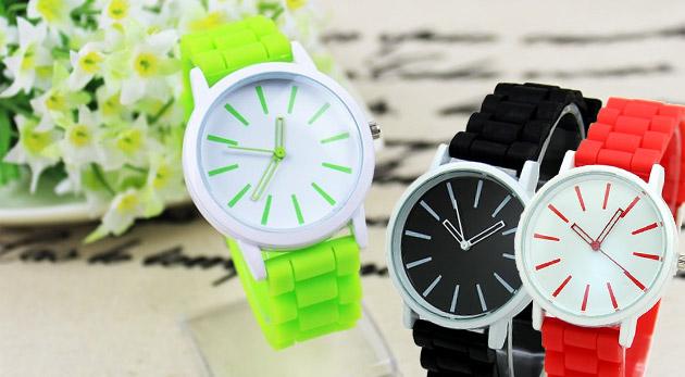 Fotka zľavy: Štýlové silikónové hodinky vhodné pre dámy aj pánov len za 3,99 €. Na výber až zo 7 farebných prevedení.