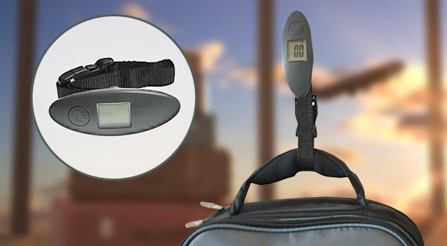 Fotka zľavy: Cestovná digitálna váha na batožinu i do domácnosti do hmotnosti 40 kg len za 5,90 €. Oceníte veľký a dobre čitateľný LCD displej, indikátor preťaženia aj vybitia.