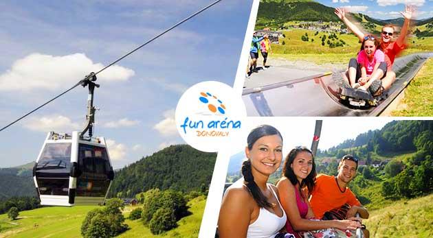 Fotka zľavy: Spiatočný lístok na lanovku TELEMIX len za 5 € vrátane vzrušujúcej jazdy na bobovej dráhe vo FunAréna Donovaly! Vyvezte sa na Novú hoľu a kochajte sa krásnym výhľadom na panorámu Nízkych Tatier!