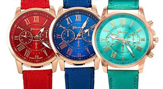 Fotka zľavy: Atraktívne dámske náramkové hodinky len za 8,90 €. Na výber až z ôsmich farebných prevedení. Elegancia a štýl v jednom - ozdoba vášho zápästia!