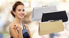 Zľava 40%: Dotiahnite svoj outfit k dokonalosti trblietavou listovou kabelkou len za 6,50 €. Na výber v čiernej, striebornej a zlatej farbe.