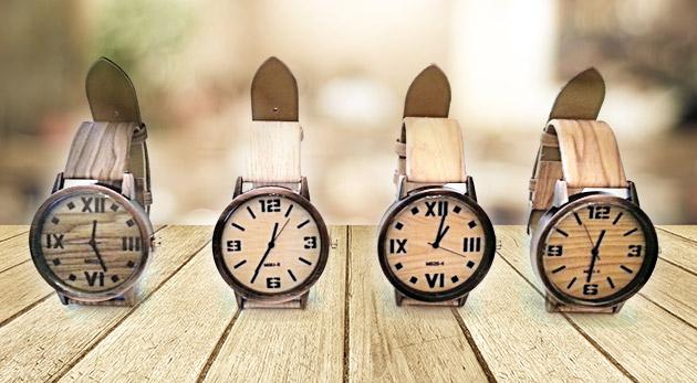 Fotka zľavy: Eleganciu, štýl a presnosť vám dodajú dámske hodinky s trendy imitáciou dreva len za 6,99 €. Na výber zo 4 šik modelov.