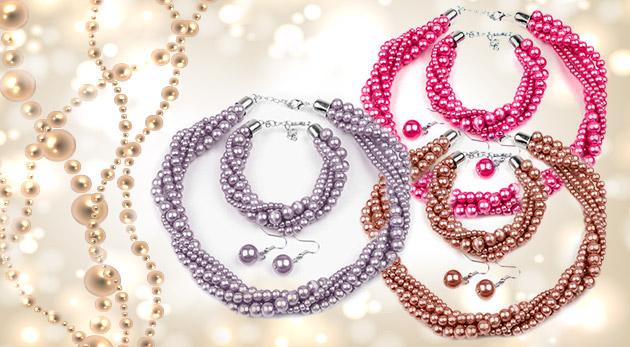 Fotka zľavy: Elegantný trojdielny set šperkov z voskovaných perál - náhrdelník, náušnice a náramok len za 4,90 € z vás urobí divu ulíc!