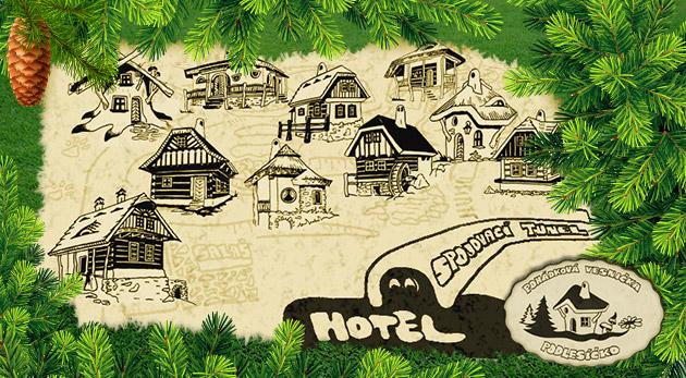 Fotka zľavy: Komfortné ubytovanie v Hoteli Podlesí v rezorte Pohádkovej vesničky Podlesíčko na Morave už od 122 € na 4 dni pre dvoch vrátane polpenzie, bazéna, bowlingu. Deti do 3 rokov zdarma.