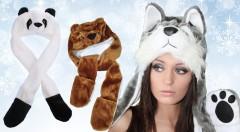 """Zľava 40%: Štýlová zimná zvieracia čiapka len za 11,99 € vrátane poštovného. Jemná a pohodlná čiapka, šál a rukavice v jednej zo štyroch """"chlpatých"""" podôb."""