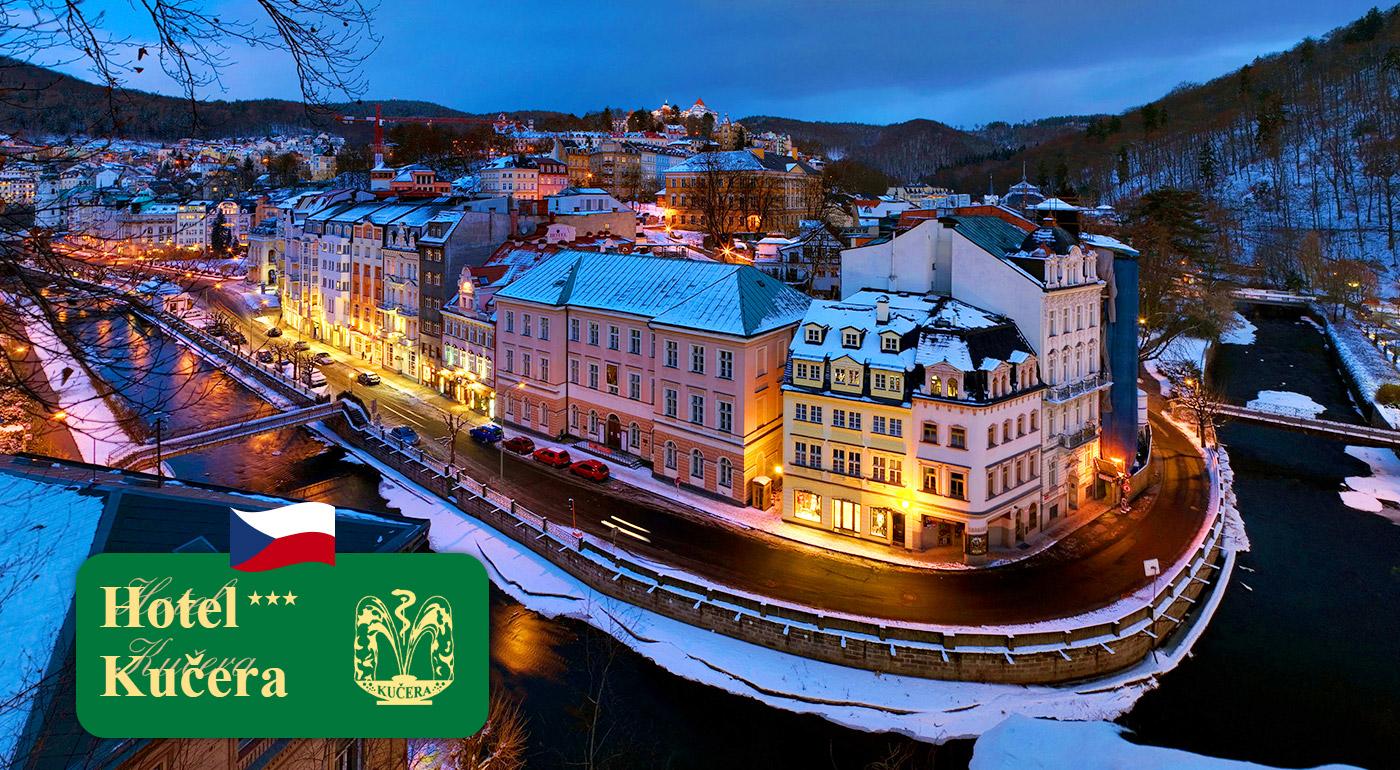 Fotka zľavy: Zimný relax v najznámejších českých kúpeľoch Karlove Vary v Hoteli Kučera*** už od 94 € pre dvoch na 3, 4 alebo 5 dní s bohatými raňajkami. Na výber i variant s wellness či masážami a zábalmi!