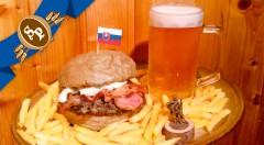 Zľava 47%: Chutný Jánošíkov Hamburger s bratislavským pivom Pressburg už od 4,50 € v slovenskej kombinácii s ovčou bryndzou, slaninkou, cibuľkou, BBQ omáčkou a porciou lahodných hranoliek v nádhernej pivárni!