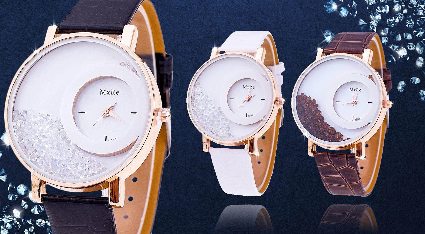 Fotka zľavy: Dámske hodinky s presýpacími kryštálmi len za 4,99 € sú módnym doplnkom, ktorý doladí každý váš outfit. Kvalitný, elegantný dizajn, a luxusné detaily dokonalo ozdobia vašu ruku. Na výber v 3 farbách!