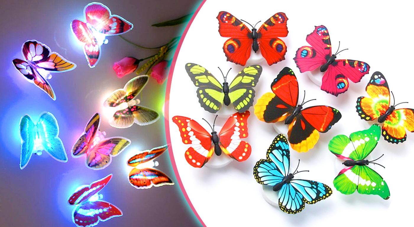 Fotka zľavy: Urobte radosť svojim deťom! Osobitá LED lampička motýľ rozžiari ich oči a vykúzli u vás doma nezameniteľnú pestrofarebnú atmosféru! Rozprávkové lampičky teraz len 3,99 € za 2 kusy v balení!